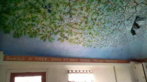 """A tree mural of branches and leaves spreads across the ceiling, and the boards along the top of the wall have a quote from Clarence Jordan, which reads, """"Behold a tree. Does it not speak to us thusly:"""""""